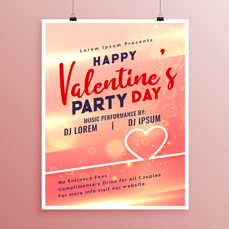Happy valentines day event flyer template design. Vector stock illustration