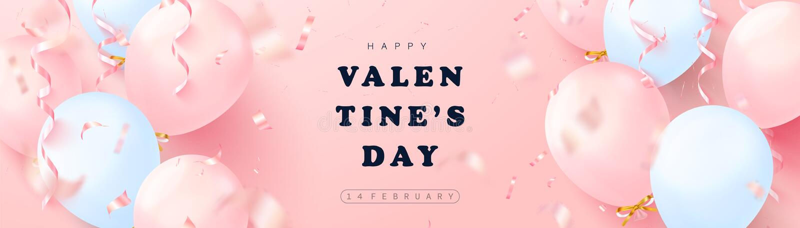 Happy Valentines Day festive banner. Vector illustration with 3D pink and blue balloons, serpentine and confetti.Modern vector illustration