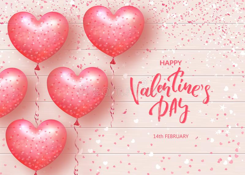 Happy Valentines Day Festive Card. Beautiful Background with heart shaped air balloons on Wooden Texture. Vector. Illustration vector illustration