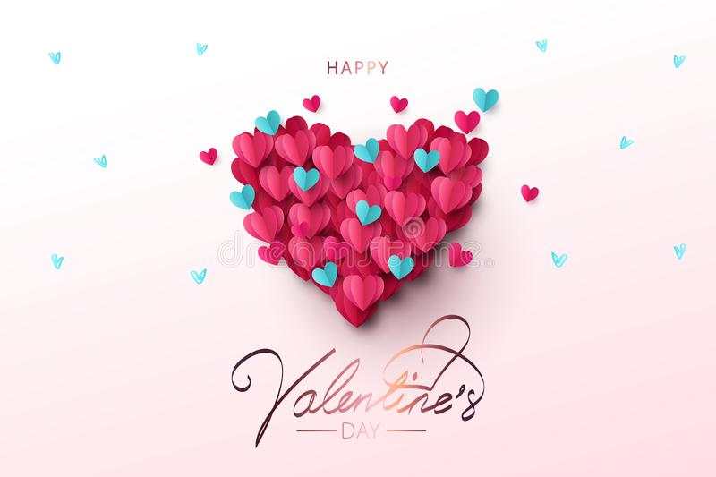 Happy Valentines Day festive Design banner, greeting card or poster. Illustration of Love. royalty free illustration