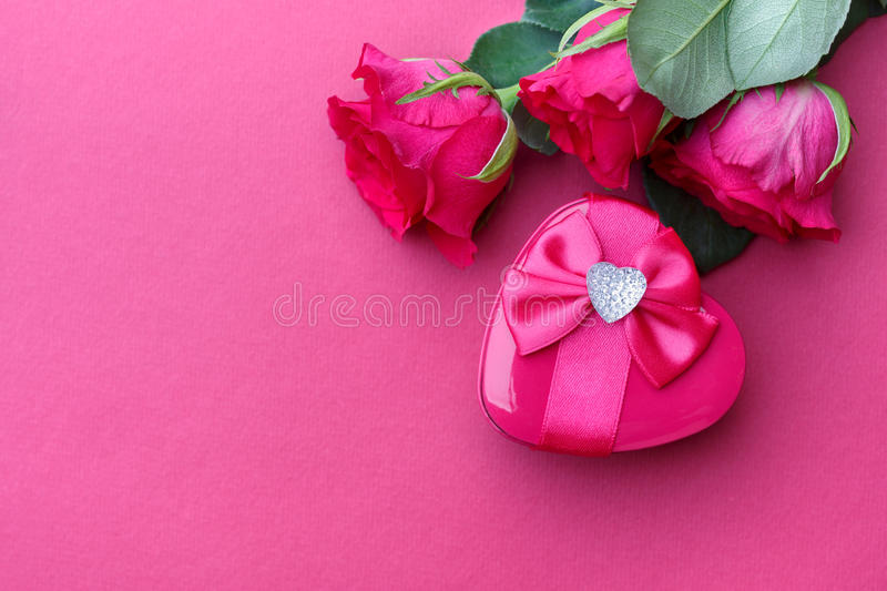 Happy Valentines Day. Gift and rose. Valentine's Day background and free text space stock photo