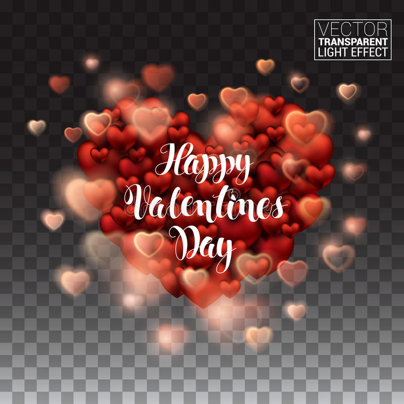 Happy Valentines Day. Glowing stream of sparkles and lens. Flare light effect. Holiday shiny heart. Decoration element. Vector Illustration Isolated on royalty free illustration