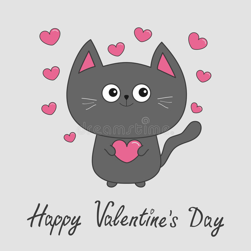 Happy Valentines Day. Gray contour cat holding pink heart set. vector illustration