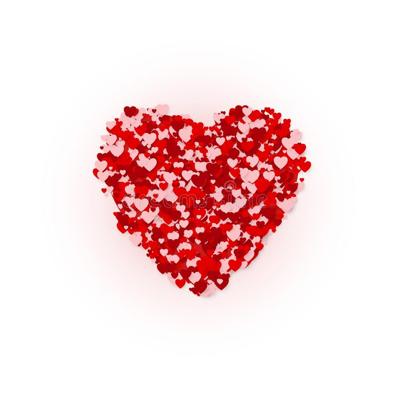 Happy Valentines day greeting card concept. Heart frame confetti graphic silhuette. Vector illustration royalty free illustration