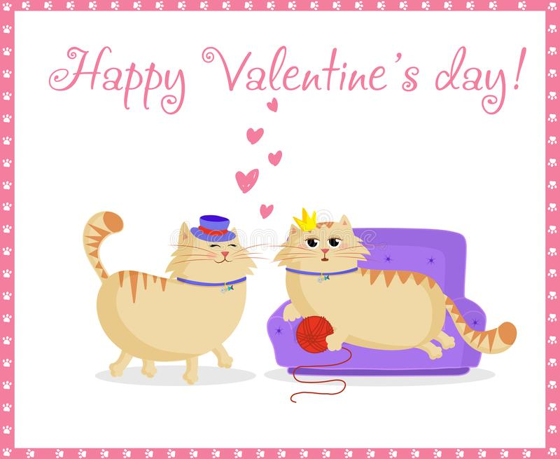 Happy valentines day greeting card with cute cartoon cats boy and girl in love royalty free stock photo