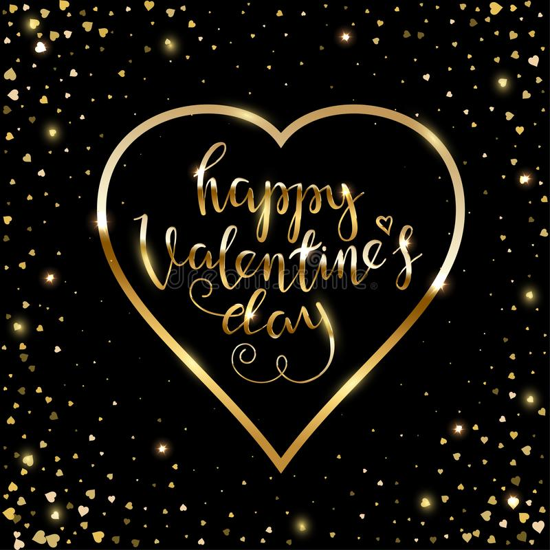 Happy Valentines day greeting card with golden text and heart frame isolated on black background. Handwritten stock illustration