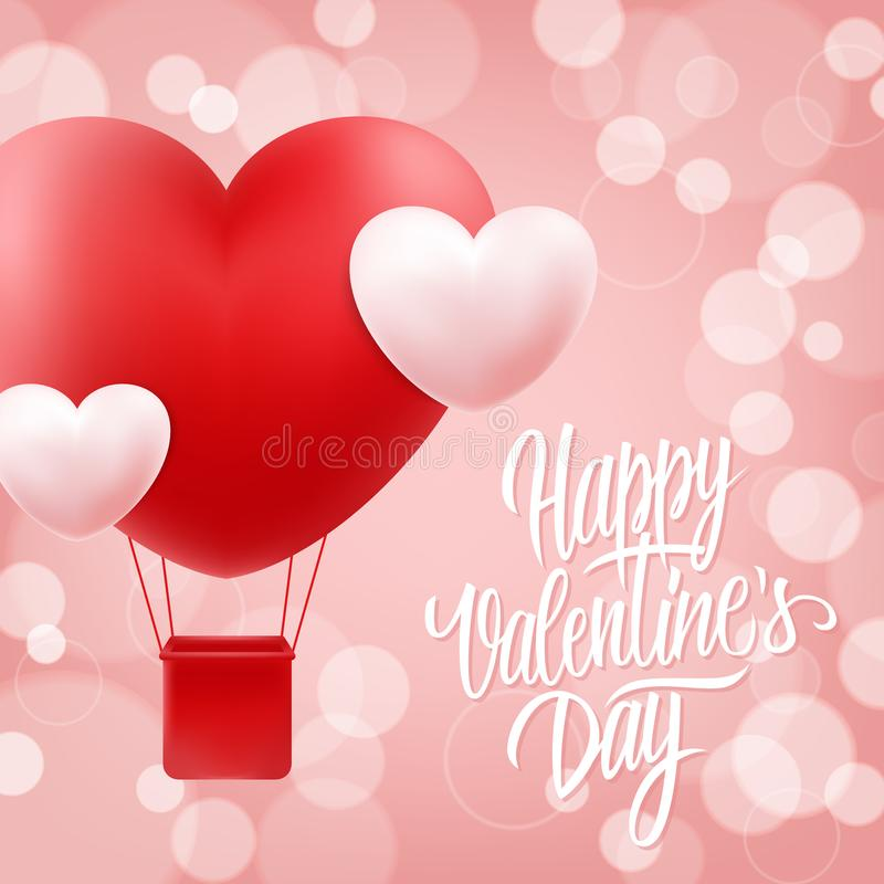 Happy Valentines Day greeting card with hand drawn lettering text design and realistic heart shape hot air balloon. royalty free illustration