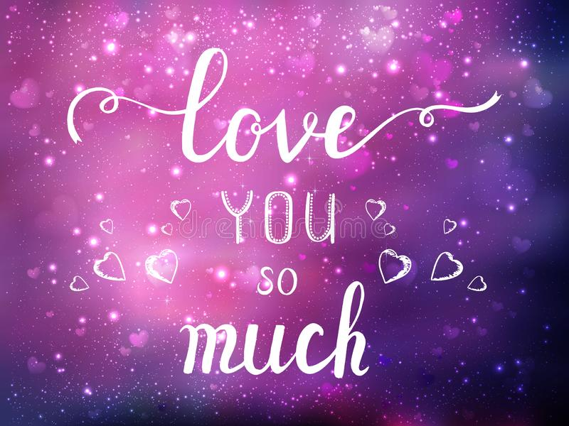 Happy Valentines Day greeting card. I Love You. 14 February. Holiday background with hearts, light, stars. Vector Illustration. Happy Valentines Day greeting vector illustration