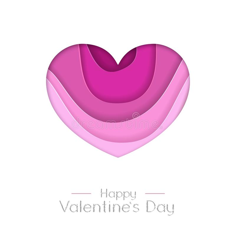 Happy Valentines day greeting card with love heart  silhouette. Cut out paper art style design. Happy Valentines day greeting card with love heart  silhouette stock illustration