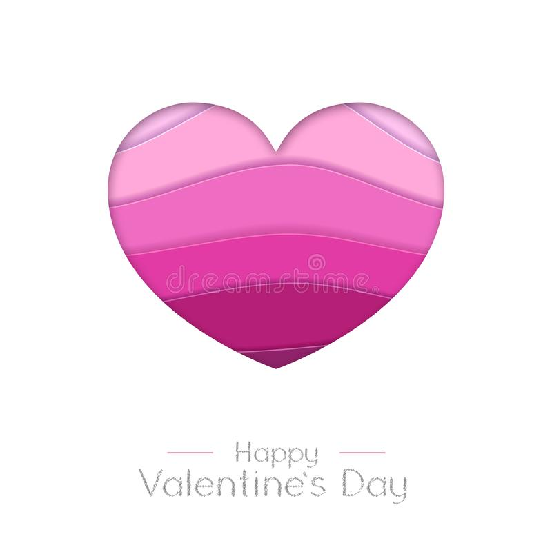 Happy Valentines day greeting card with love heart  silhouette. Cut out paper art style design. Happy Valentines day greeting card with love heart  silhouette vector illustration