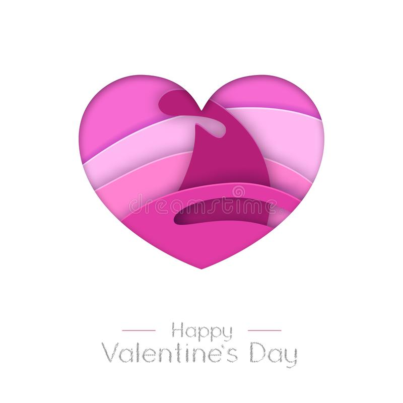 Happy Valentines day greeting card with love heart  silhouette. Cut out paper art style design. Happy Valentines day greeting card with love heart  silhouette royalty free illustration