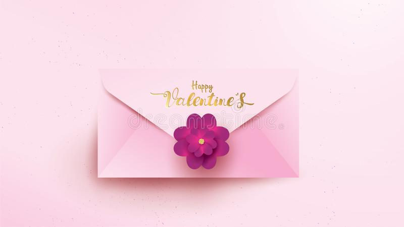 Happy Valentines Day greeting card with pink envelope and purple flower. Gold valentine floral concept text suitable for banner,. Poster, advertising and vector illustration