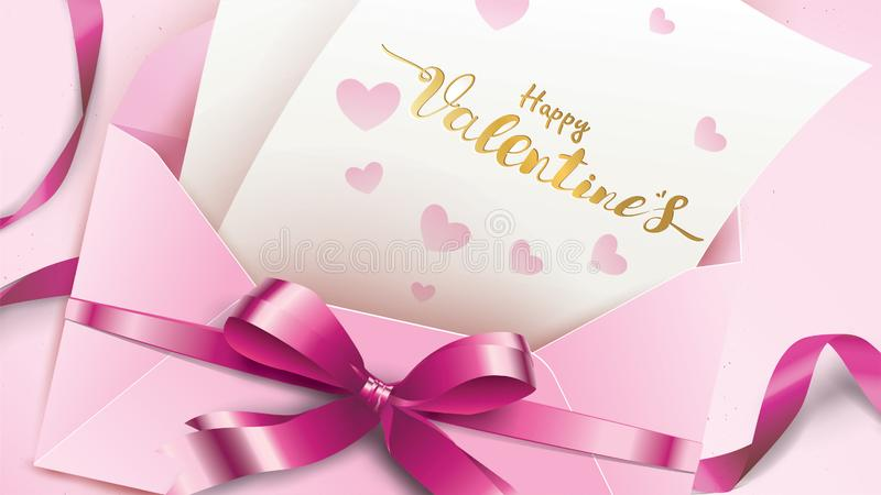 Happy Valentines Day greeting card with pink envelope and purple heart. Gold valentine love concept text suitable for banner,. Poster, advertising and promotion stock illustration