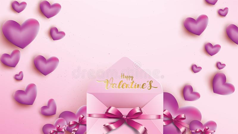 Happy Valentines Day greeting card with pink envelope and purple heart. Gold valentine love concept text suitable for banner,. Poster, advertising and promotion vector illustration