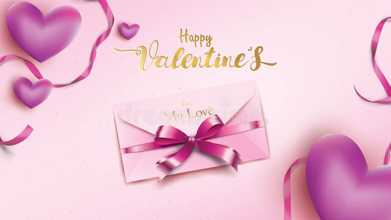Happy Valentines Day greeting card with pink envelope and purple heart. Gold valentine ribbon concept text suitable for banner,. Poster, advertising and vector illustration