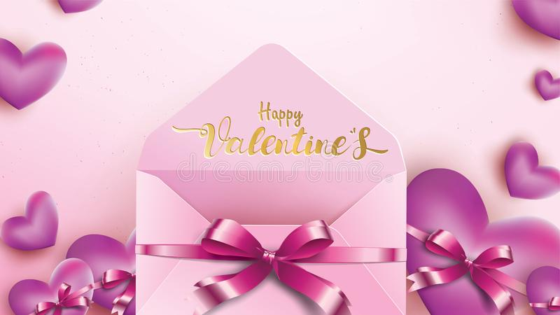 Happy Valentines Day greeting card with pink envelope and purple heart. Gold valentine ribbon concept text suitable for banner,. Poster, advertising and stock illustration