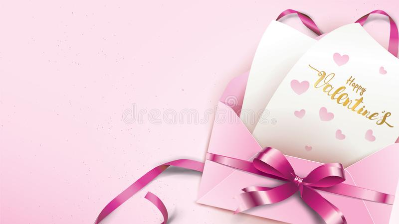 Happy Valentines Day greeting card with pink envelope and purple heart. Gold valentine ribbon concept text suitable for banner,. Poster, advertising and royalty free illustration