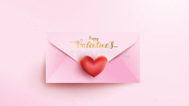 Happy Valentines Day greeting card with pink envelope and red heart . Gold valentine text suitable for banner, poster, advertising. And promotion background vector illustration