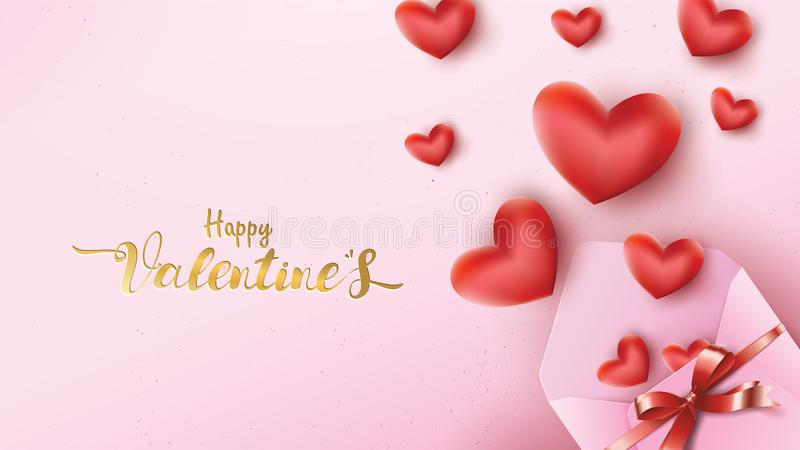 Happy Valentines Day greeting card with pink envelope and red heart . Gold valentine text suitable for banner, poster, advertising. And promotion background stock illustration