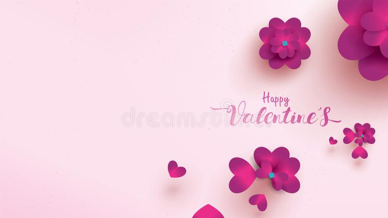 Happy Valentines Day greeting card with pink and purple flower rose. floral background concept suitable for copy space text royalty free illustration