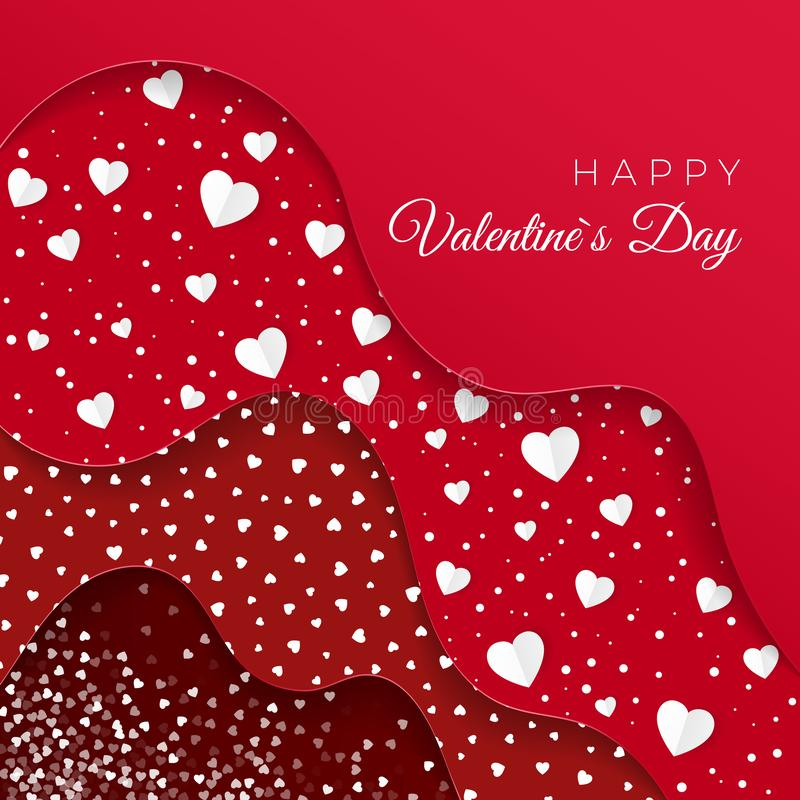 Happy Valentines Day greeting card. Red Layers with different Decorative Elements. Paper White Hearts. Romantic Weeding Design. royalty free illustration