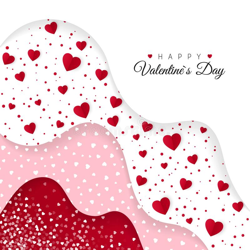 Happy Valentines Day greeting card. Red Layers with different Decorative Elements. Romantic Weeding Design royalty free illustration