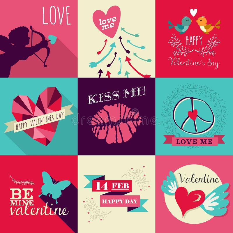 Happy Valentines Day greeting card set royalty free illustration