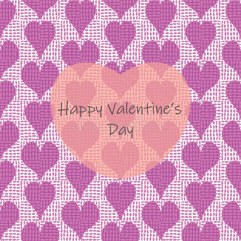 Happy Valentines day greeting card template with rows of canvas-textured hand drawn hearts overlayed with a big transparent heart stock illustration