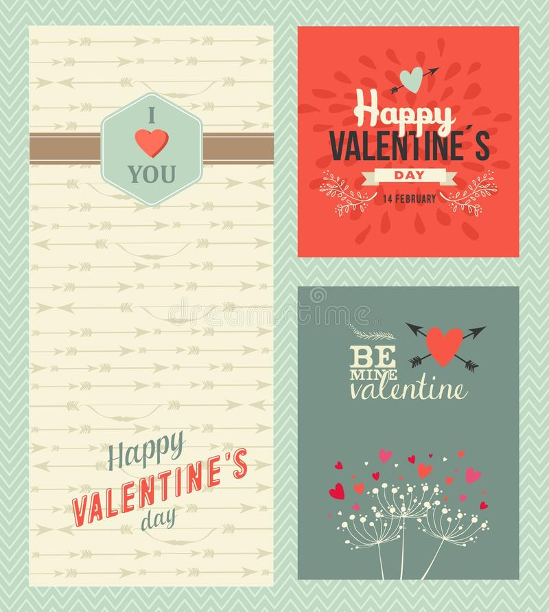 Happy Valentines day greeting cards vector illustration