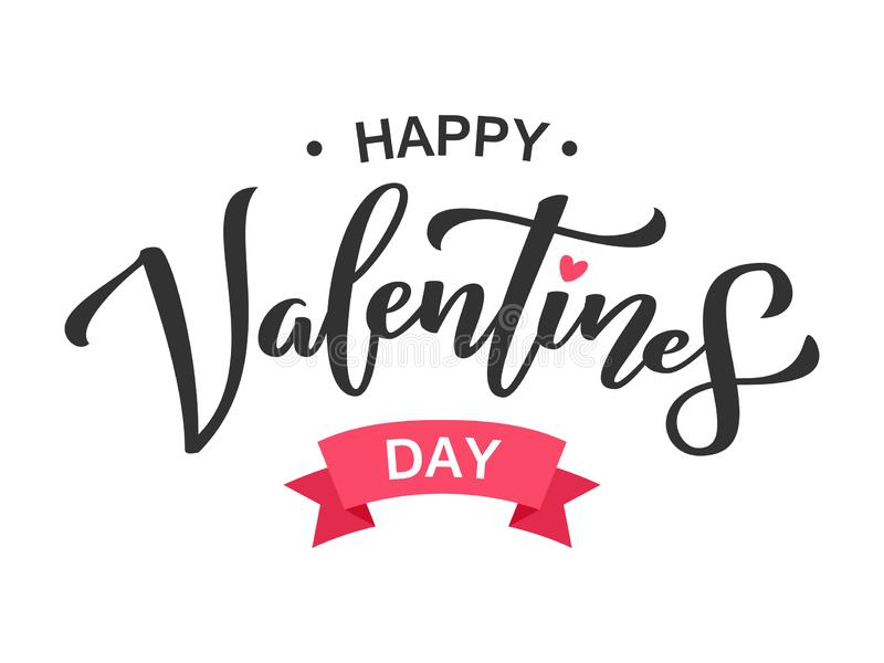 Happy Valentines Day greeting lettering. Ink typography phrase for valentine card. Black text isolated on white stock illustration