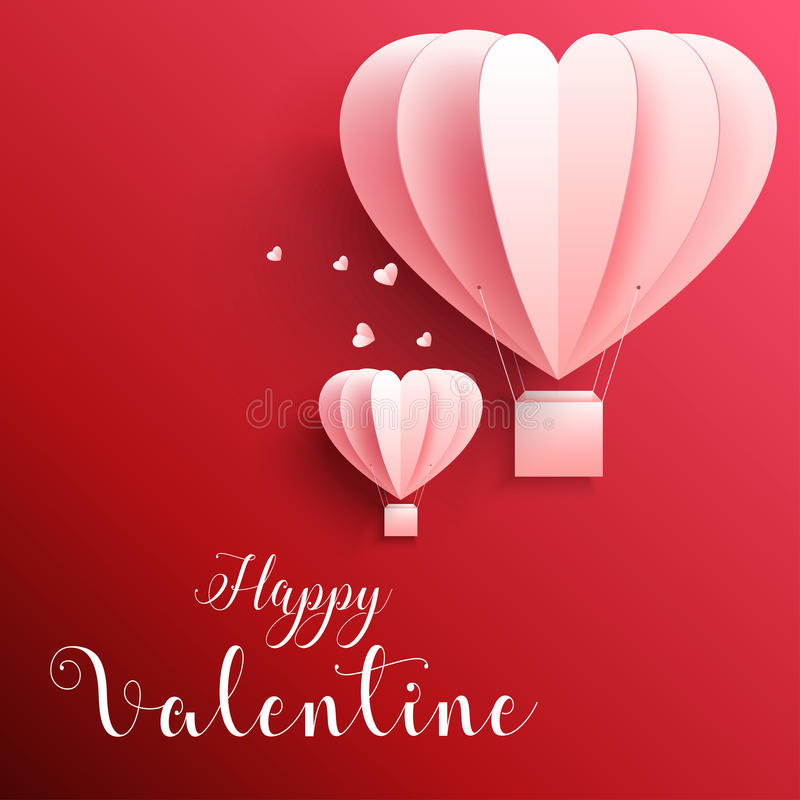 Happy valentines day greetings card with realistic paper cut heart shape flying hot air balloon in red background vector illustration