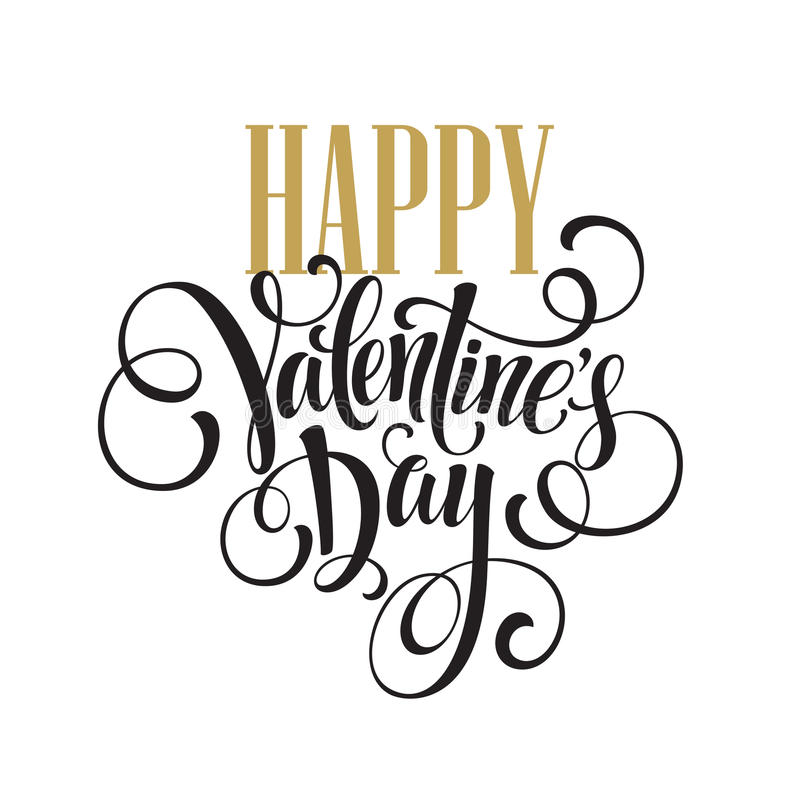 Download Happy Valentines Day Hand Drawing Lettering Design Stock Vector    Image: 63597864