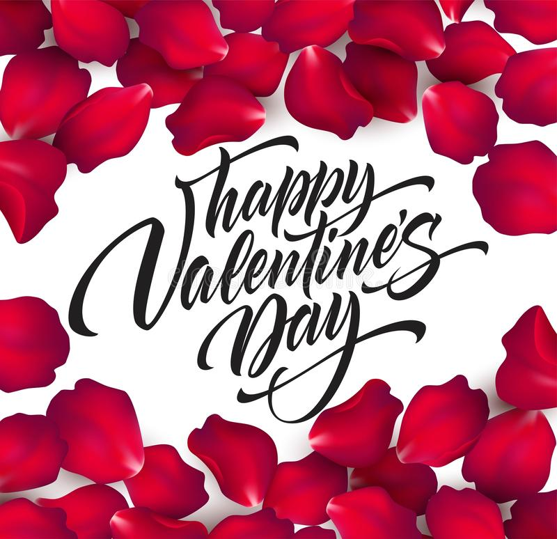 Happy Valentines day hand lettering, modern calligraphy, on rose petals colorful beautiful background. Vector stock illustration
