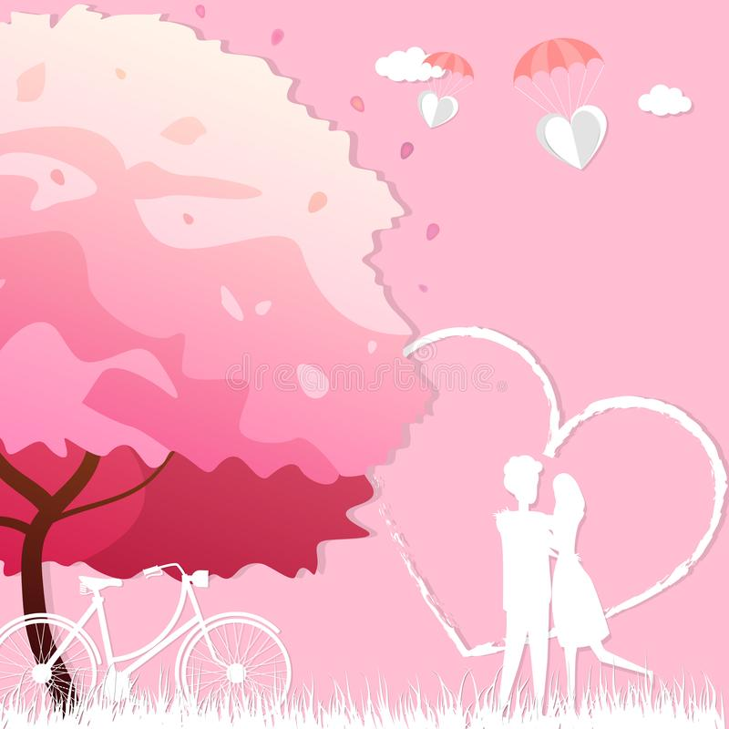 Happy valentines day with happy couple stand in the meadows and bicycle under the tree. Happy valentines day with happy couple stand in the meadows and bicycle vector illustration
