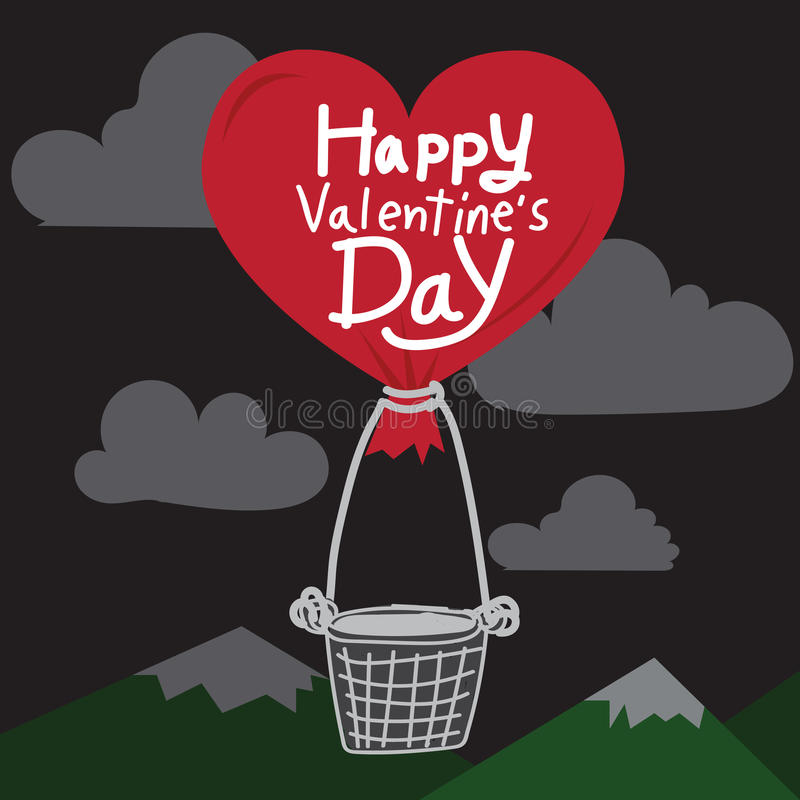 Happy Valentines Day With heart Air Balloon stock illustration