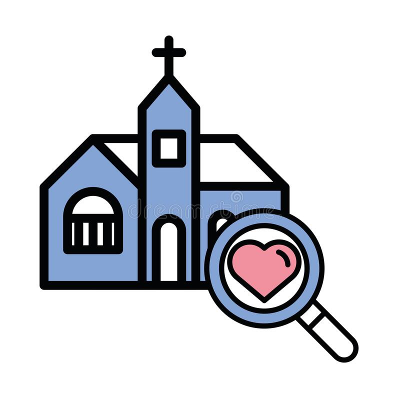 Happy Valentines Day Heart With Church Stock Vector Illustration Of Passion Vintage 169934127