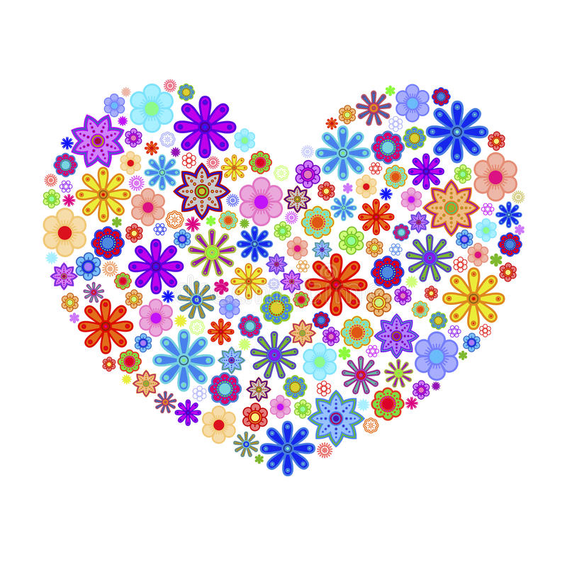 Download Happy Valentines Day Heart With Colorful Flowers Stock Illustration - Image: 17802972