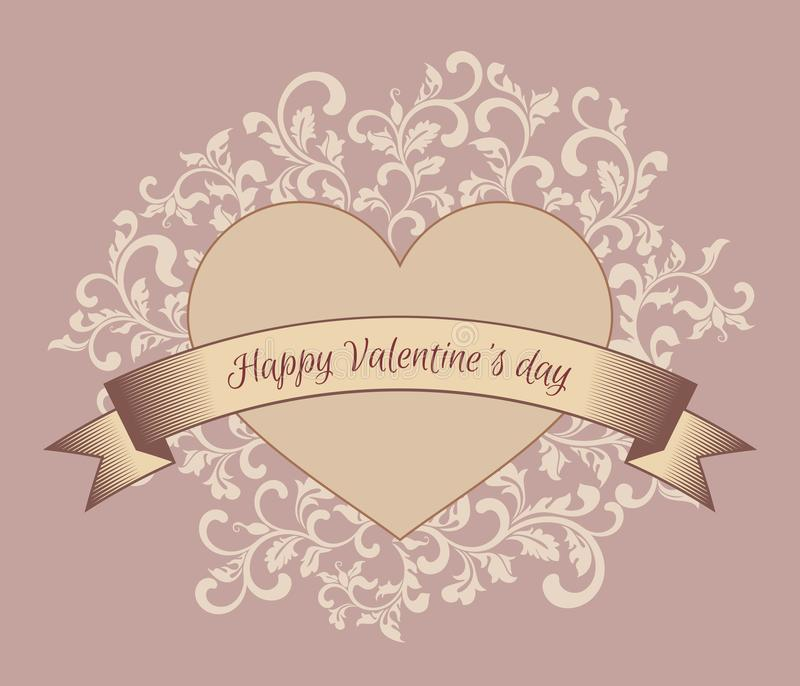 Happy Valentines day. Heart with ribbon. Background with floral vintage pattern. stock illustration