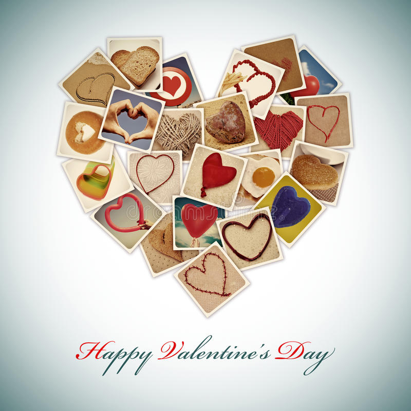 Happy valentines day. A heart-shaped collage of different pictures shot by myself of hearts and heart-shaped things, and the sentence happy valentines day royalty free stock photo