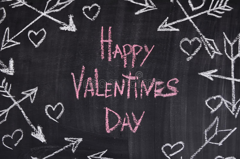 Happy Valentines day with hearts, arrowes. Chalk royalty free stock photos
