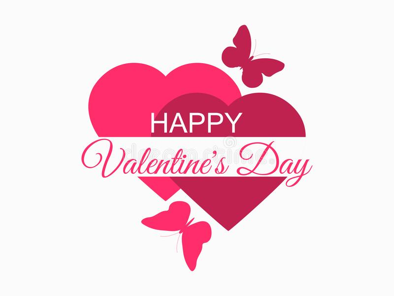 Happy Valentines Day hearts and butterflies. Festive background for greeting card, banner and poster. Vector vector illustration