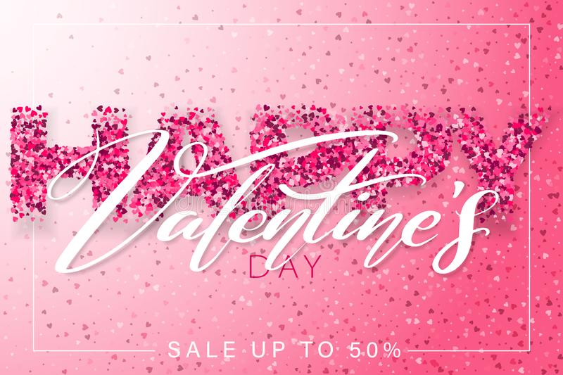 Happy Valentines Day horizontal banner design. 14 February. Pink color romantic template with small hearts. royalty free illustration