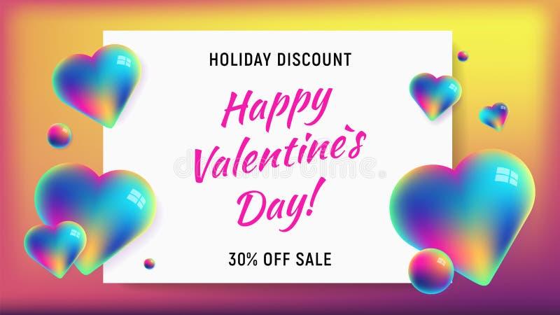 Happy valentines day horizontal rainbow background vector illustration
