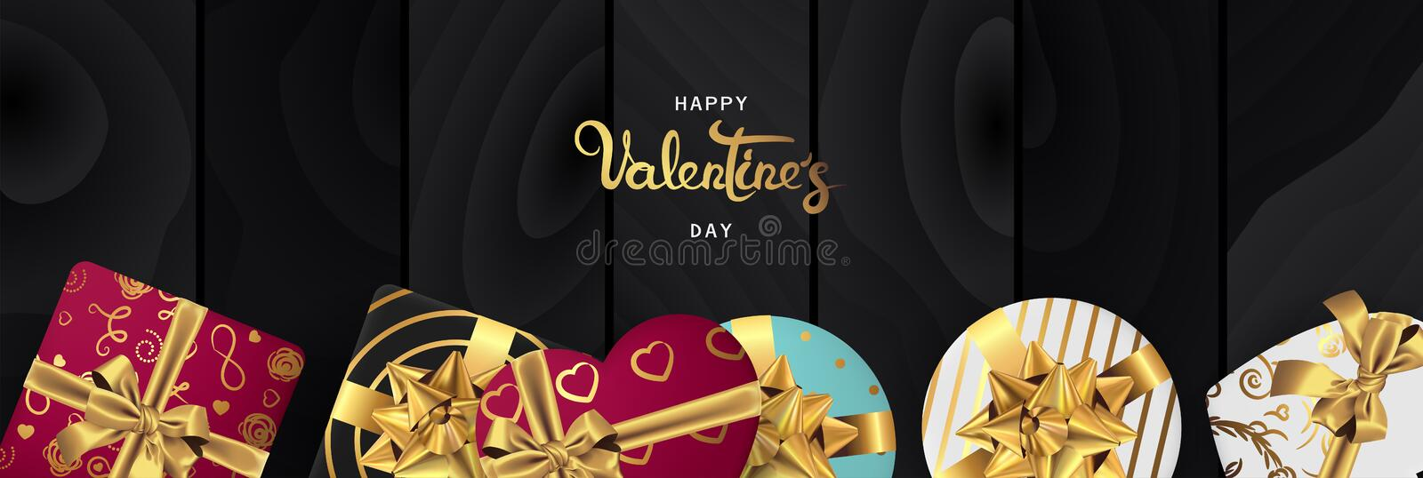 Happy valentines day horizontal realistic banner flat lay top view royalty free illustration