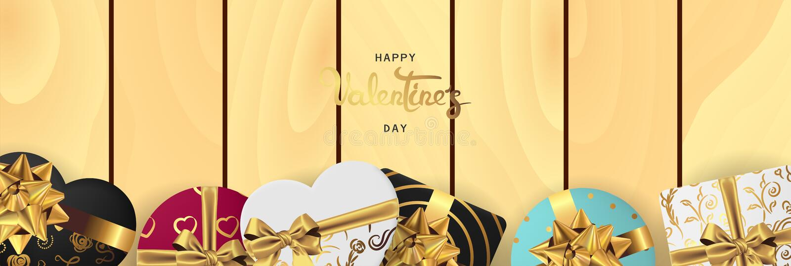 Happy valentines day horizontal realistic banner flat lay top view stock illustration