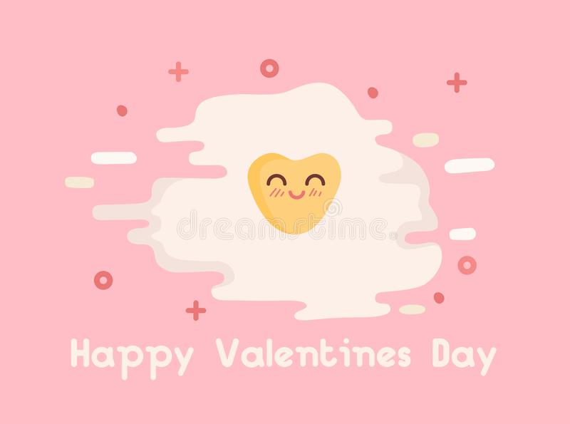 Happy Valentines Day Vector Illustration. Heart shaped omelette, egg yolk. Flat free style stock illustration