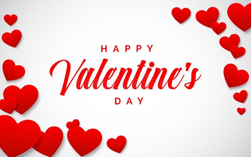 Happy Valentines day illustration with red hearts border. Greeting card for Valentines day vector illustration