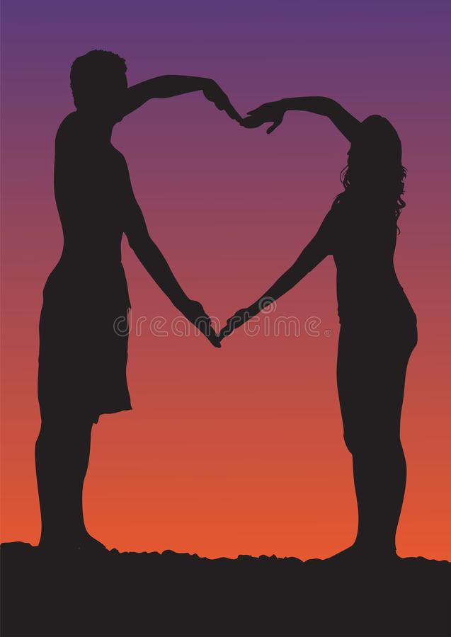 Happy Valentines Day illustration. Romantic silhouette of loving couple at night under the stars. Vector illustration royalty free illustration