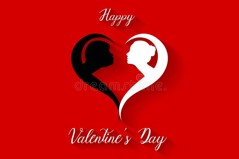 Happy valentines day kissing couples silhouette on red background, vector royalty free illustration