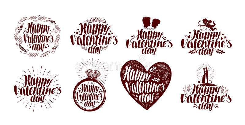 Happy Valentines day, label set. Holiday icon or symbol. Lettering, calligraphy vector illustration stock illustration